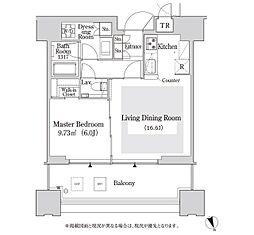 大崎ガーデンレジデンス 11階1LDKの間取り