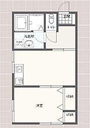 長谷川アパート 2階1DKの間取り