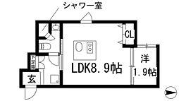 ステーションスクエアさくら通り 2階1LDKの間取り