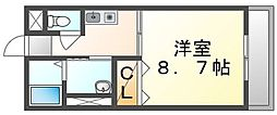 高松琴平電気鉄道長尾線 池戸駅 徒歩11分の賃貸マンション 2階1Kの間取り
