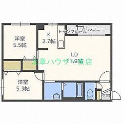 北海道札幌市東区北二十一条東12丁目の賃貸マンションの間取り
