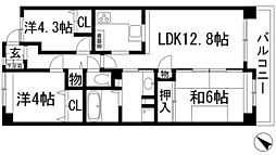 兵庫県宝塚市月見山1丁目の賃貸マンションの間取り