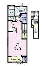 JR山陽本線 福山駅 5.6kmの賃貸アパート 2階1Kの間取り