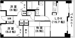 滋賀県近江八幡市西本郷町西の賃貸マンションの間取り
