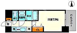 プレサンス堺筋本町センティス 12階1Kの間取り