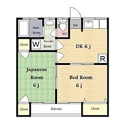 神奈川県川崎市多摩区中野島の賃貸アパートの間取り