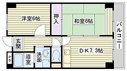 メゾン交楽園弐番館[202号室]の間取り