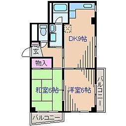 神奈川県横浜市神奈川区大口仲町の賃貸マンションの間取り