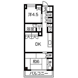 東京都渋谷区幡ヶ谷1丁目の賃貸マンションの間取り