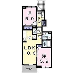 ロータス南島田C[105号室]の間取り