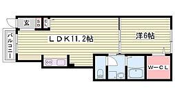 神鉄粟生線 葉多駅 徒歩15分の賃貸アパート 1階1LDKの間取り