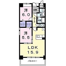 愛知県名古屋市南区豊田2丁目の賃貸マンションの間取り