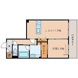 JR関西本線 大和小泉駅 徒歩5分の賃貸マンション 3階1LDKの間取り