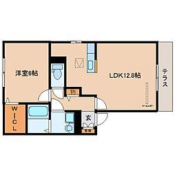 JR関西本線 大和小泉駅 徒歩12分の賃貸アパート 1階1LDKの間取り