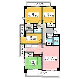 サンマンションアーツ山の手五番館[7階]の間取り