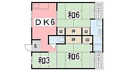 ビレッジハウス宮の前3号棟[202号室]の間取り