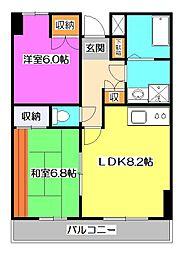 東京都東大和市高木2丁目の賃貸マンションの間取り