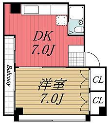 千葉県千葉市若葉区貝塚2丁目の賃貸マンションの間取り