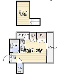 Osaka Metro谷町線 大日駅 徒歩11分の賃貸マンション 2階ワンルームの間取り