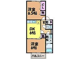 愛媛県松山市正円寺3丁目の賃貸アパートの間取り