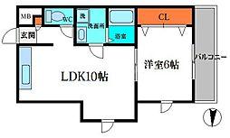 福住マンション 4階1LDKの間取り