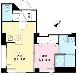 JR京葉線 越中島駅 徒歩17分の賃貸マンション 1階1LDKの間取り