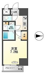 東武伊勢崎線 梅島駅 徒歩14分の賃貸マンション 7階1Kの間取り