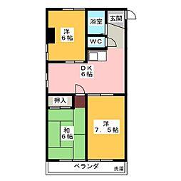 グローリィ十一屋[4階]の間取り
