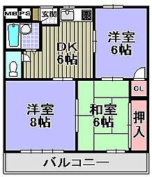 コンスポワール岸和田[308号室]の間取り