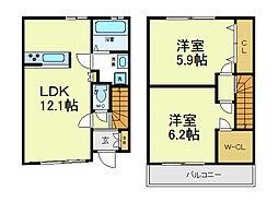 大阪府大阪市阿倍野区相生通1丁目の賃貸アパートの間取り