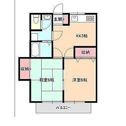 小林コーポハミング1[2階]の間取り
