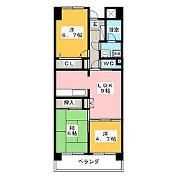 ライオンズマンション豊成[8階]の間取り
