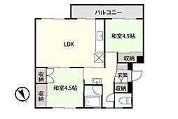 アシスト第8青森マンションA 2階2LDKの間取り