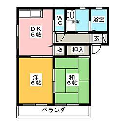 カシミールB[1階]の間取り