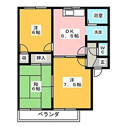 愛知県小牧市応時3丁目の賃貸アパートの間取り