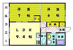 福岡県宗像市稲元4丁目の賃貸アパートの間取り