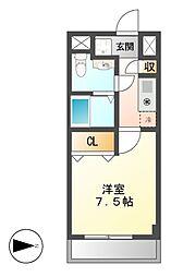 愛知県名古屋市熱田区花町の賃貸マンションの間取り