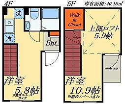 EXIA浅草橋 4階1DKの間取り