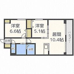 北海道札幌市中央区北七条西20丁目の賃貸マンションの間取り