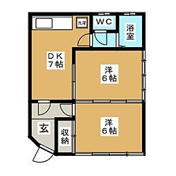 しあわせ荘[1階]の間取り