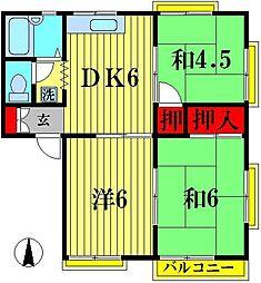 グリーンハイツオカダ B[1階]の間取り