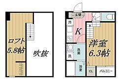 千葉県千葉市中央区亥鼻2丁目の賃貸アパートの間取り