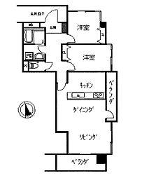 間取図2LDK、対面キッチンです。