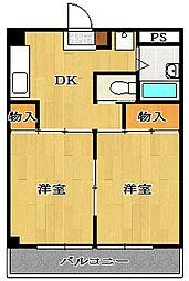 島五コーポ[4階]の間取り
