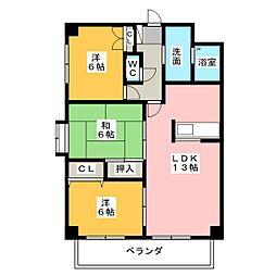 パーシモンヒルズ桜本町[4階]の間取り