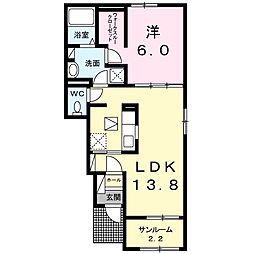 JR身延線 国母駅 徒歩20分の賃貸アパート 1階1LDKの間取り