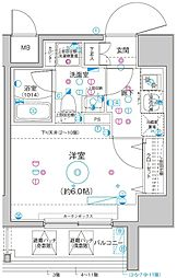 Le'a横濱関内弐番館 9階1Kの間取り