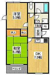 ロイヤルメゾン甲東園7[2階]の間取り