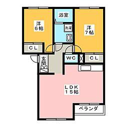パティオガーデン B棟[2階]の間取り