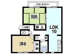 ファミール寺田B[2階]の間取り